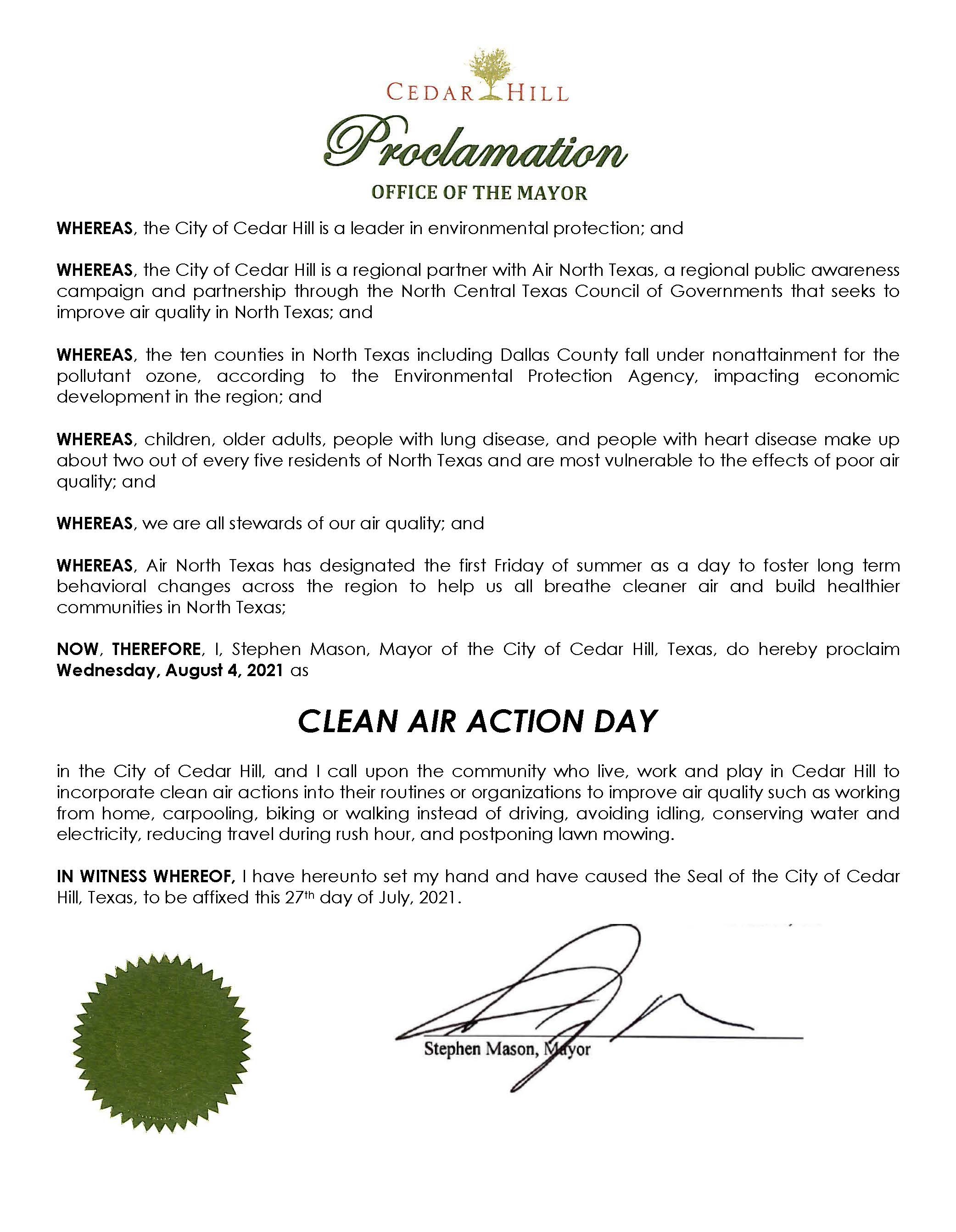 CAAD Proclamation SIGNED