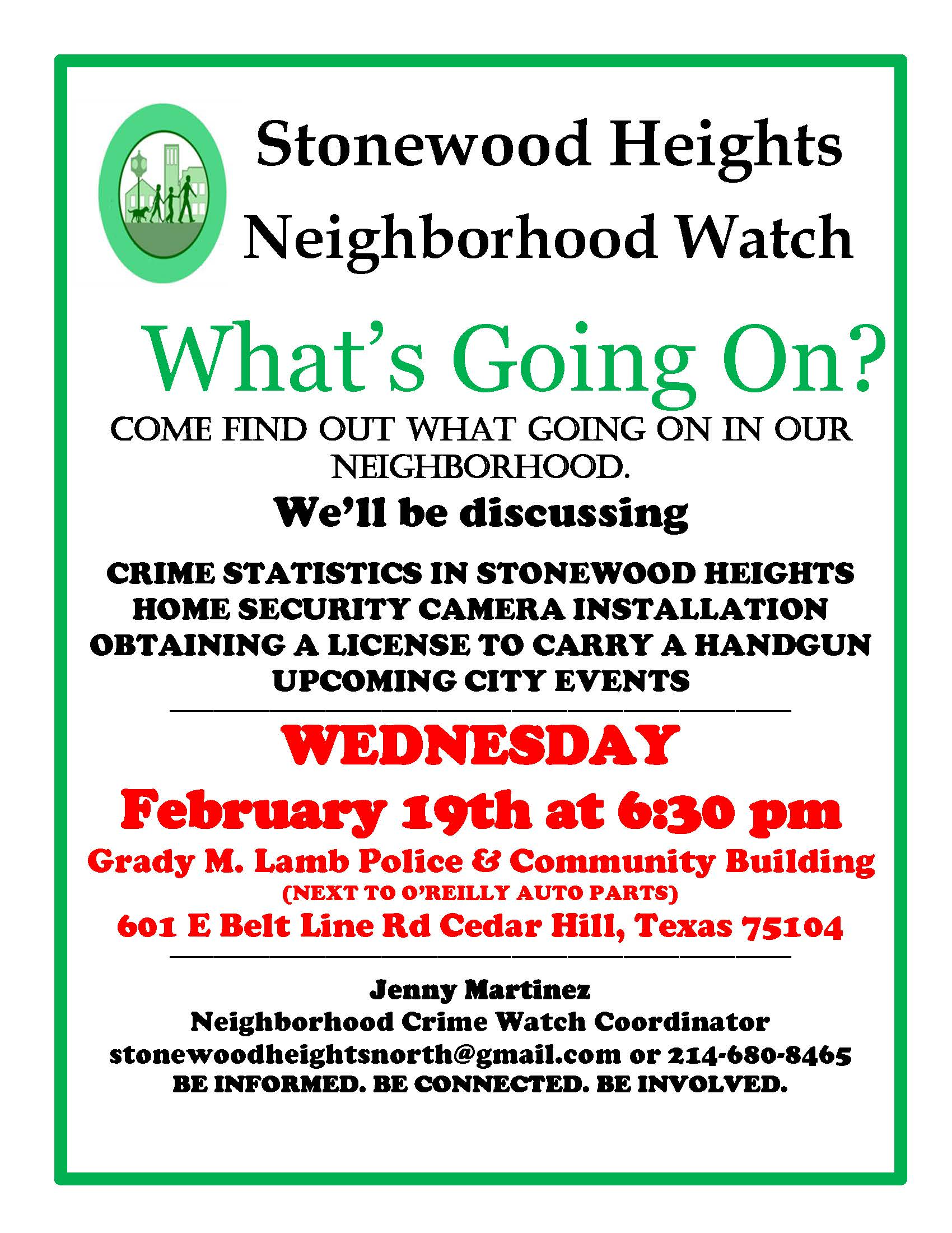 Stonewood Heights Crime Watch  02.19.20