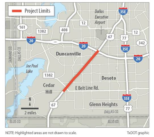 Project Limits - TxDOT graphic