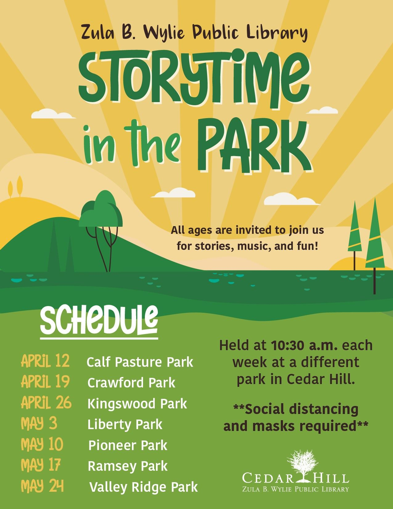 2021 Storytime In The Park Flyer